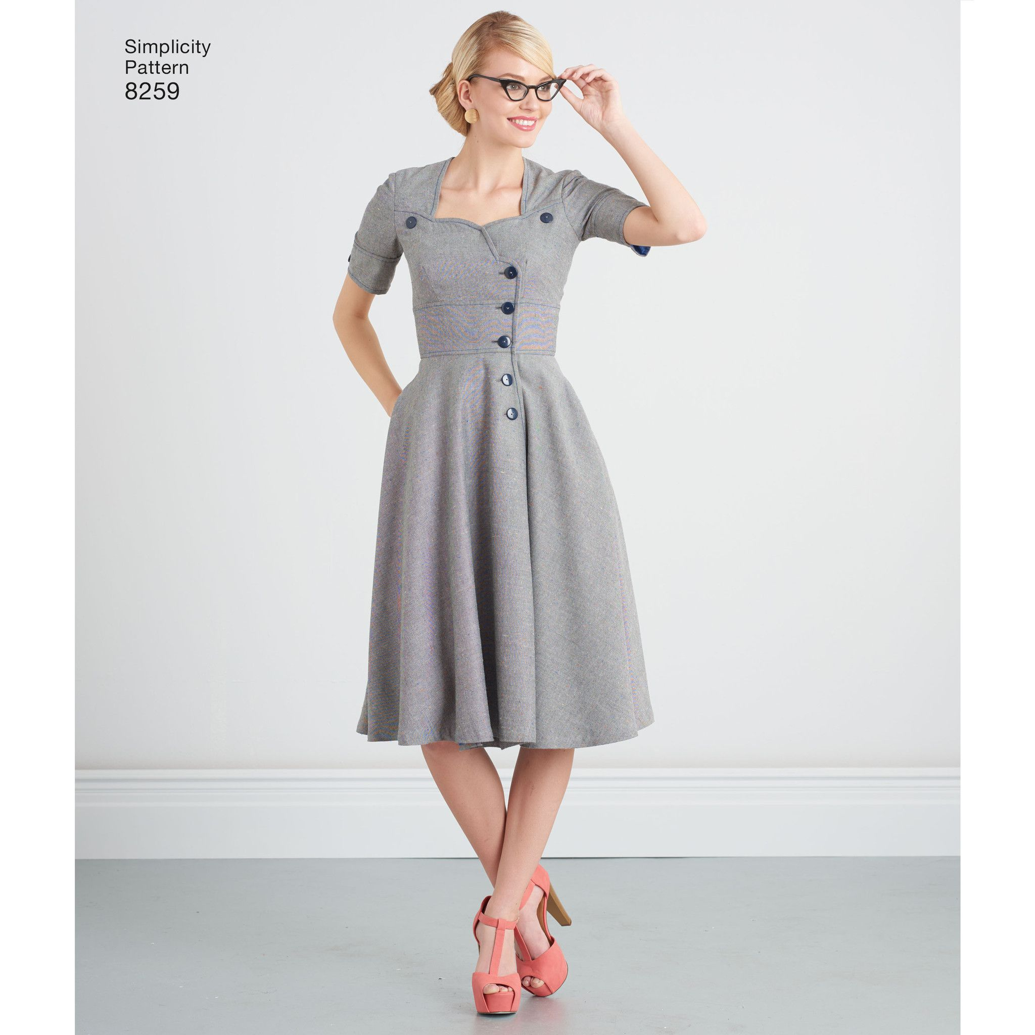S8259 Misses\' Sew Chic Button Front Dresses Simplicity Pattern ...