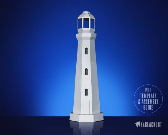Lighthouse papercraft nautical decor 3d lowpoly for 3d paper lighthouse template