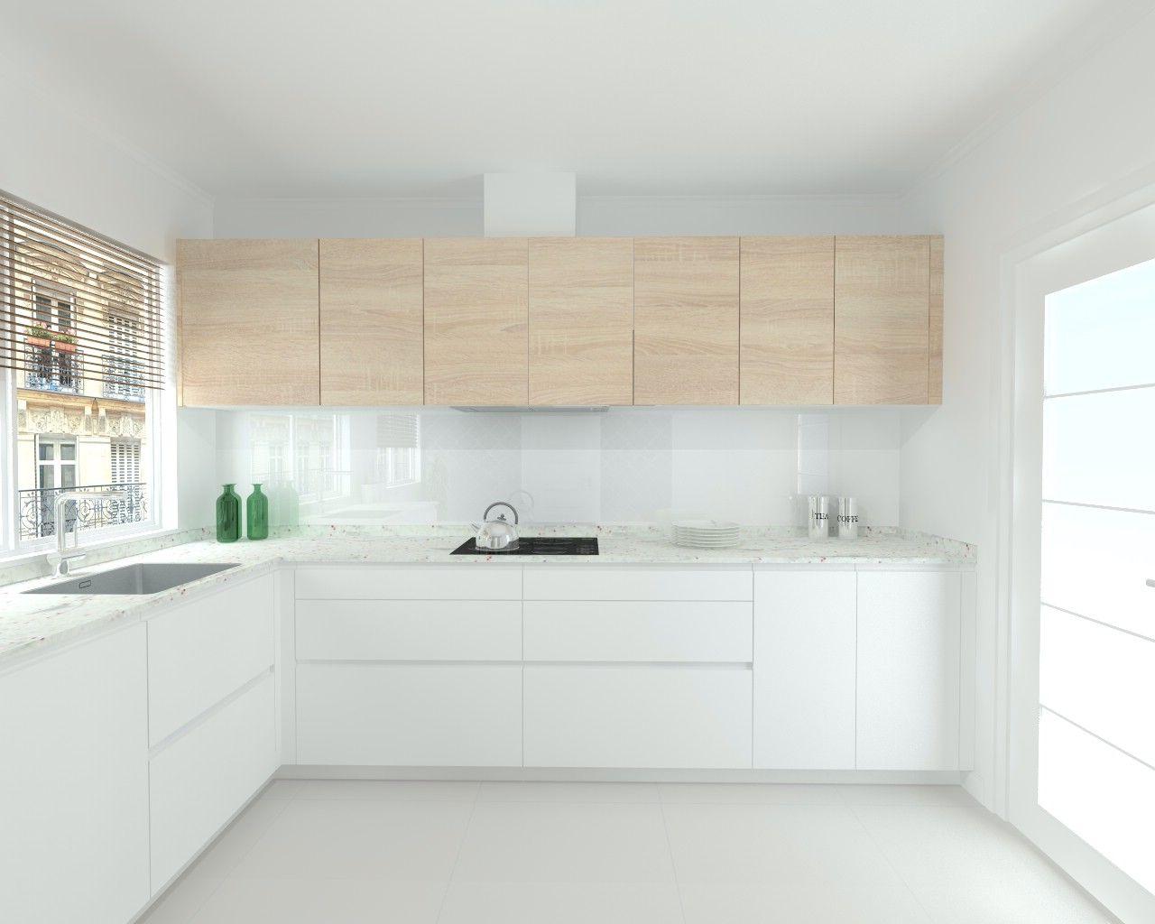 Cocina Santos Line Estratificado Blanco Encimera Granito Warwick  # Budnik Muebles De Cocina