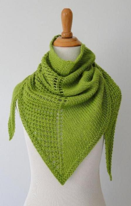 ажурная косынка спицами Onlyhats вязание вязаные платки и