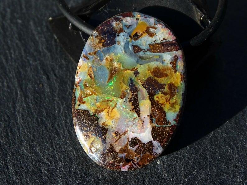 Real boulder opal pendant mens opal necklace Australian