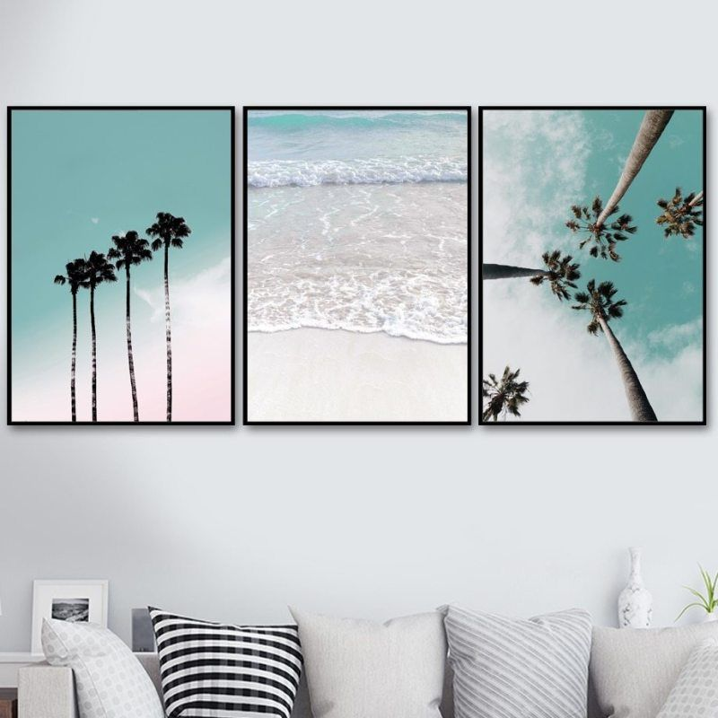 Coconut Palm Tree Pink Beach Sea Umbrella Wall Art Canvas Painting Nordic Posters And Prints Wall Pictures For Living Room Decor In 2020 Palm Tree Wall Art Wall Art Living Room #palm #tree #living #room
