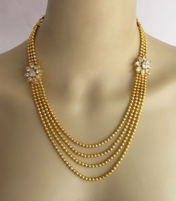 Gold Crystal Necklace Set Gold Multi Layered Chandra Haram Necklace With Side Pendants Gold Kunda Gold Crystal Necklace Gold Necklace Set Gold Jewellery Design