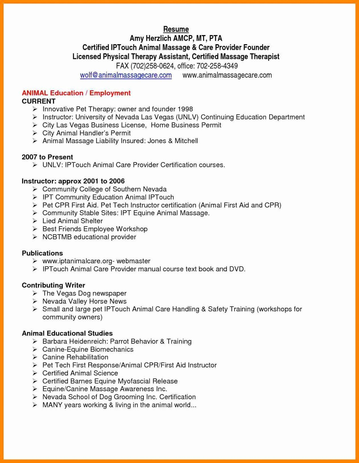 Entry Level Physical Therapist Resume New Physical Therapy Assistant Certification Programs Free
