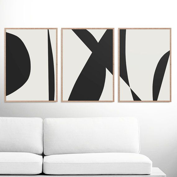 Abstract art print set 3 black white abstract art printable abstract instant download dan hobday minimal art a2 prints gallery prints