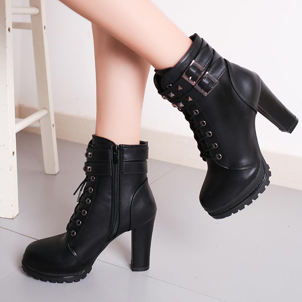 b10e84746e4 Women Sexy High Heels Platform Ankle Boots Thin Heel Lace-Up Boots ...
