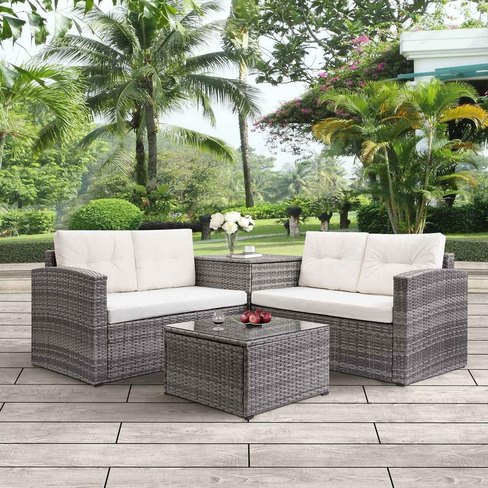 Harper Bright Designs Brown Wicker Outdoor Patio Sectional With Beige Cushions Wy000002aaa The Home Depot In 2020 Conversation Set Patio Patio Furniture Sets Patio Set