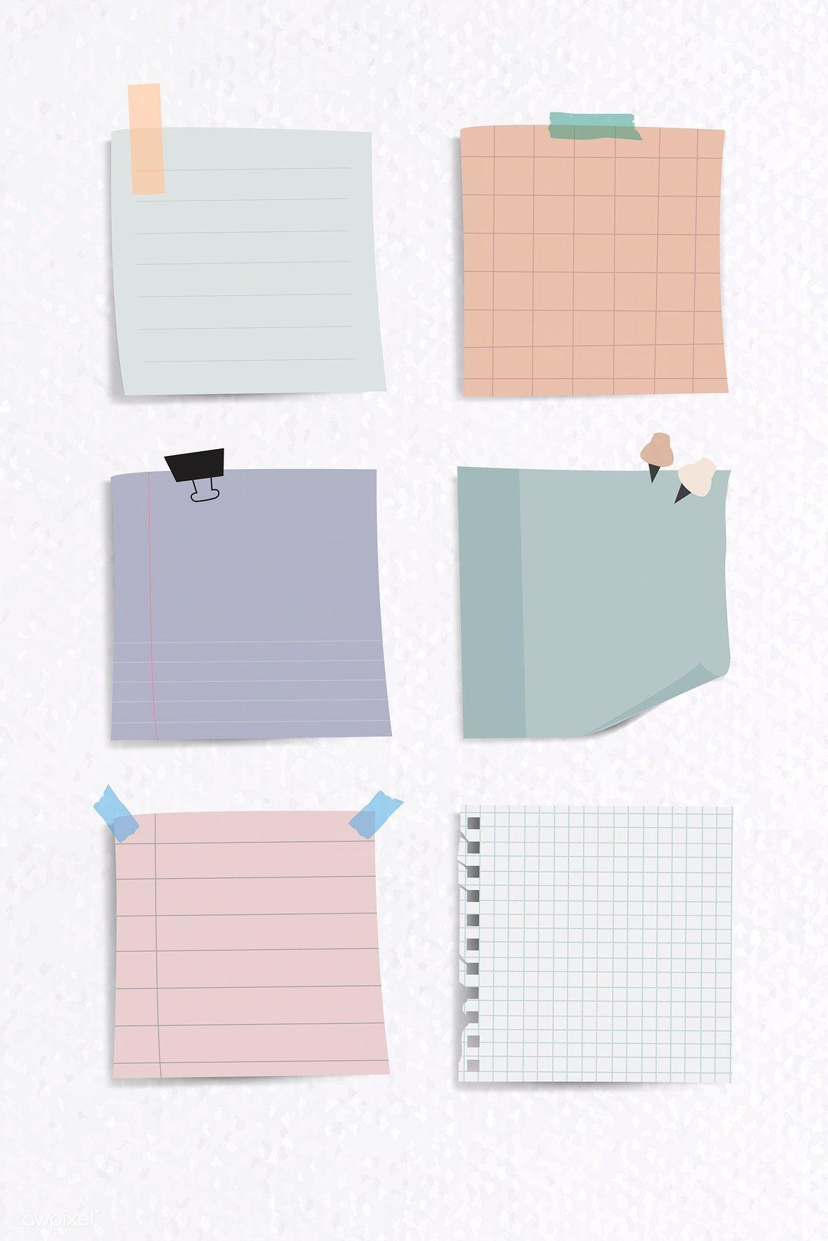 Download premium illustration of Set of notepaper on textured paper