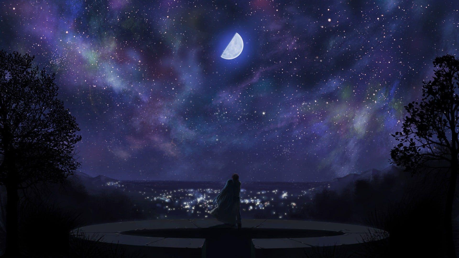 White Cape Anime Sky Moon Clouds City 1080p Wallpaper Hdwallpaper Desktop Anime Background Night Sky Wallpaper Ribbon In The Sky