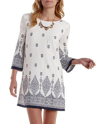 Border Print Low-Back Shift Dress: Charlotte Russe