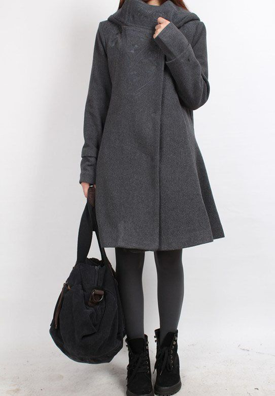 Winter Hooded Wool long coat / gray Wool overcoat by MaLieb, via ...