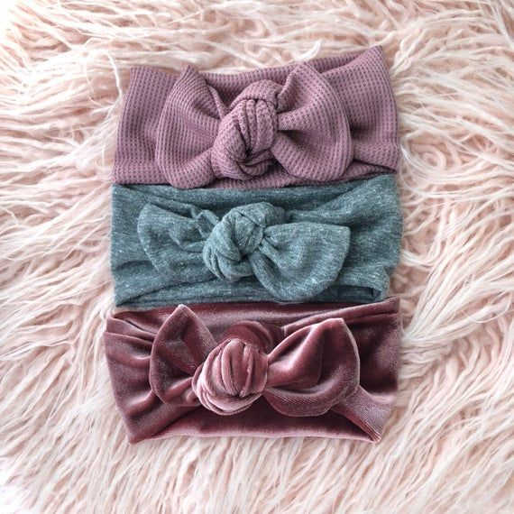 Baby girl bows set of headbands baby headbands velvet bows
