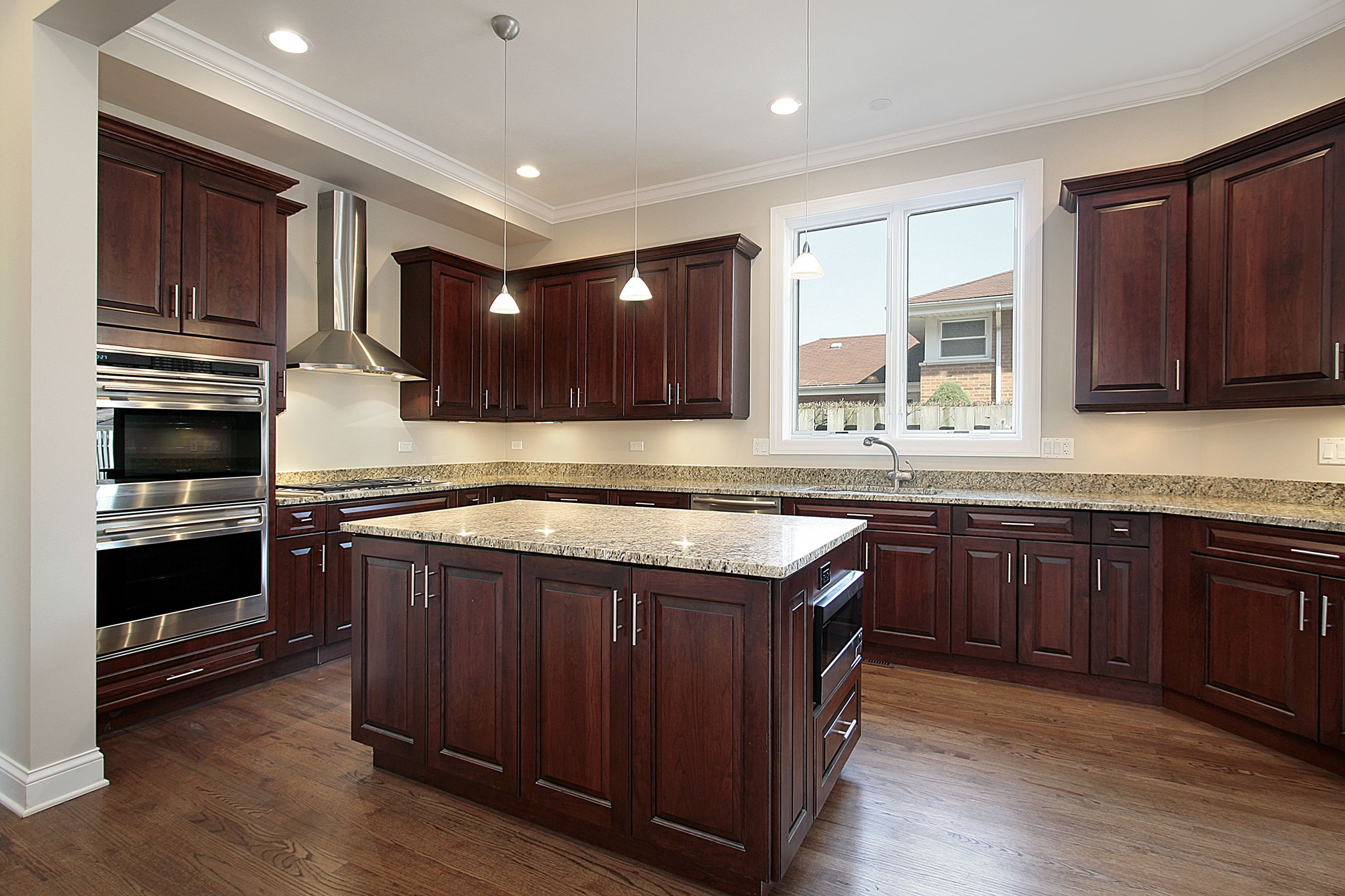 Ny Home Kitchen With Espresso Cabinets Island With Built In Micro And Doubl Cherry Wood Kitchen Cabinets Cherry Cabinets Kitchen Kitchen Cabinets And Flooring Kitchen floor ideas with cherry cabinets