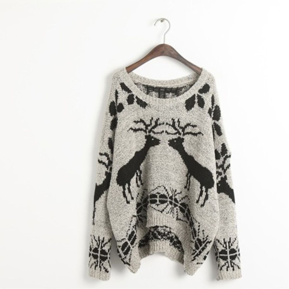 Gray Deer Pattern Pullover Kintted Sweater-Wendybox.com