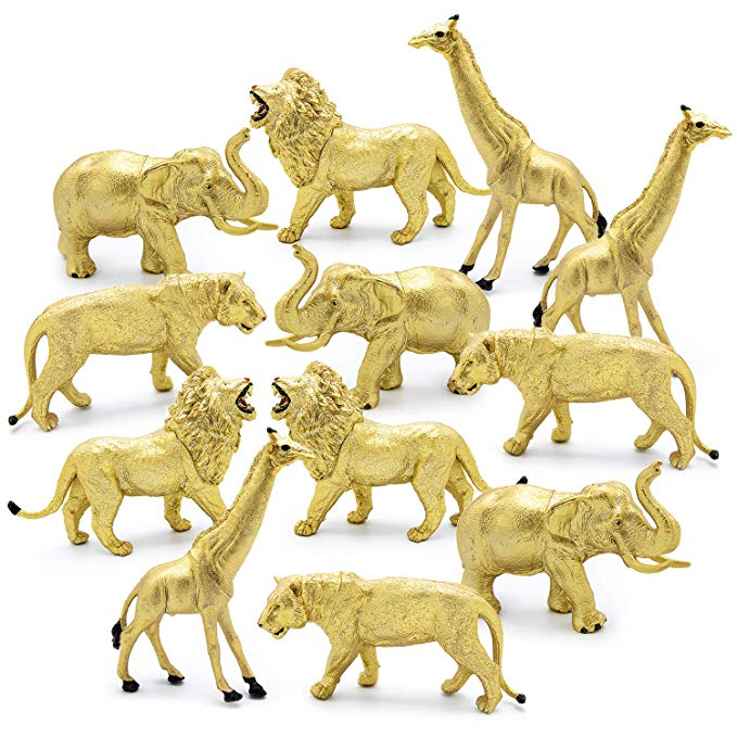 Amazon Com 12 Jumbo Metallic Gold Plastic Safari Animal Set Different Varieties Of Zoo Animals Plastic Safari Animals Safari Animal Figurines Safari Animals