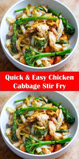 #Yummy #Quick #& #Easy #Chicken #Cabbage #Stir #FryYour family's favorite food and drink ! Quick & Easy Chicken Cabbage Stir Fry Eat Drink Paleo Prep Time: 10 mins Cook Time: 10 mins Total Time: 20 mins Yield: 2 1x Category: Main This quick and easy chicken cabbage stir-fry is a great weeknight meal. Its healthy nutritious gluten-free paleo and Whole30 friendly.  Ingredients 1 tablespoon coconut oil (plus a little extra added later) 400 g / 0.8 lb chicken breast or thigh meat sliced into thin st #cabbagestirfry