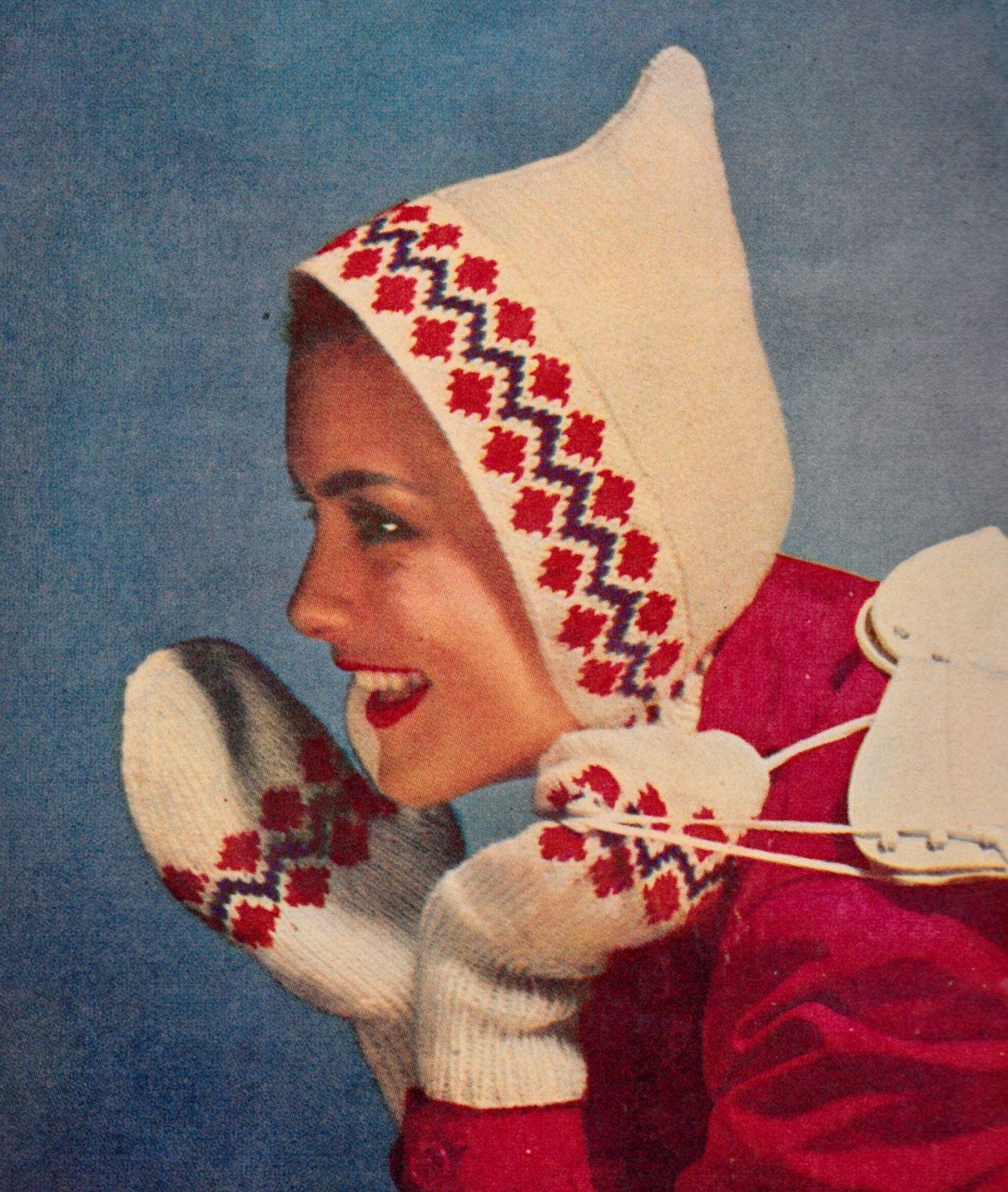 Vintage Hood & Mitten Set Knit Pattern ,Fall-WInter 1951 issue of ...