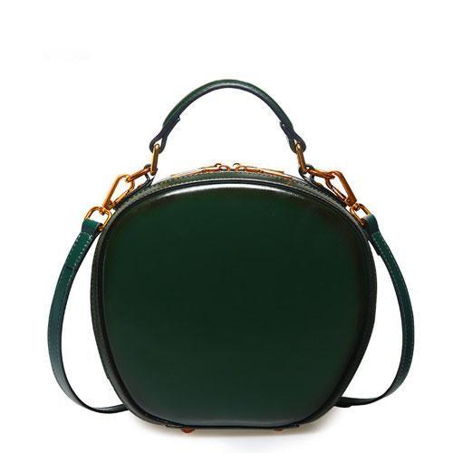 f4201e6a552d Genuine Leather Handbag Round Circle Bag Shoulder Bag Crossbody Bag Clutch  Purse For Women