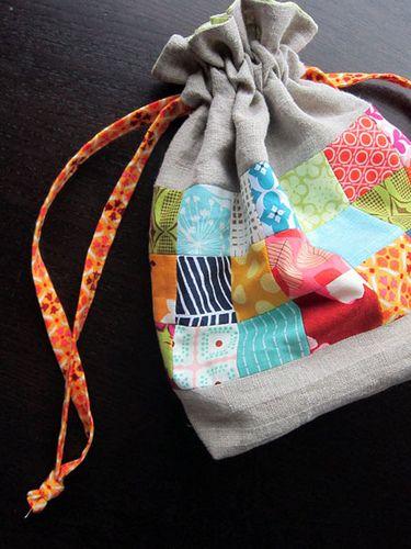 linen squares drawstring pouch inspired by jeni s tutorial bag rh pinterest com