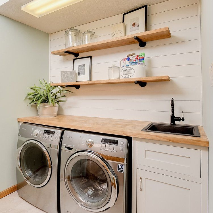 Sleek laundry room shelving with curved corners # ...