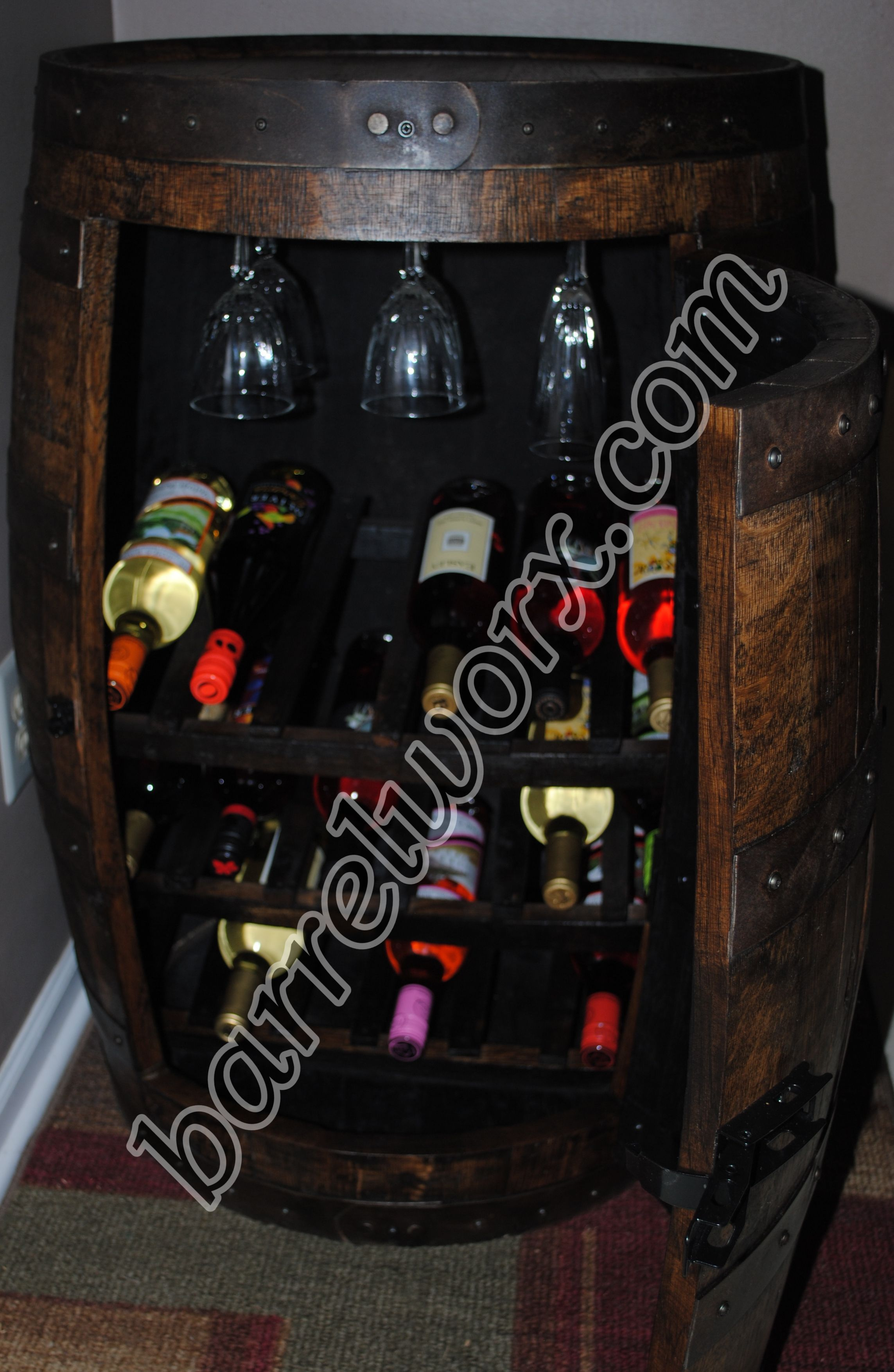 Whiskey Barrel Liquor Cabinet With Wine Racks