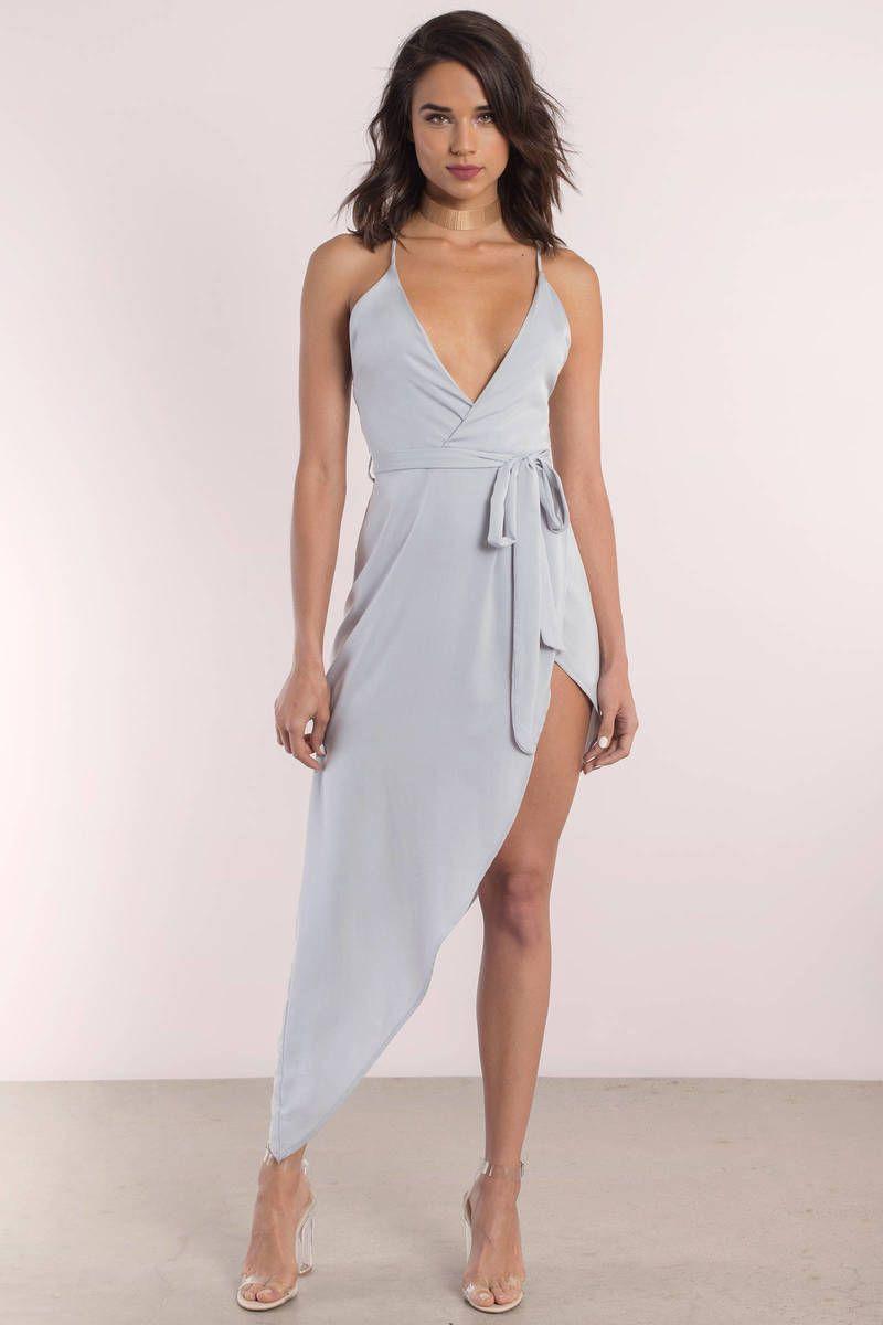 Kalani silver asymmetric cami wrap dress dresses pinterest