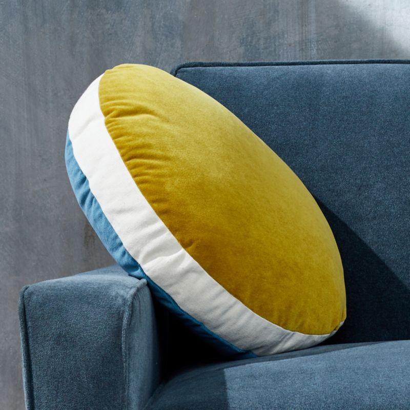 shop round velvet teal saffron pillow