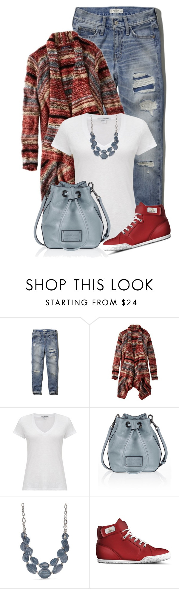 """ripped jeans"" by soleuza ❤ liked on Polyvore featuring Abercrombie & Fitch, American Eagle Outfitters, James Perse, Marc by Marc Jacobs and Ruby Rd."