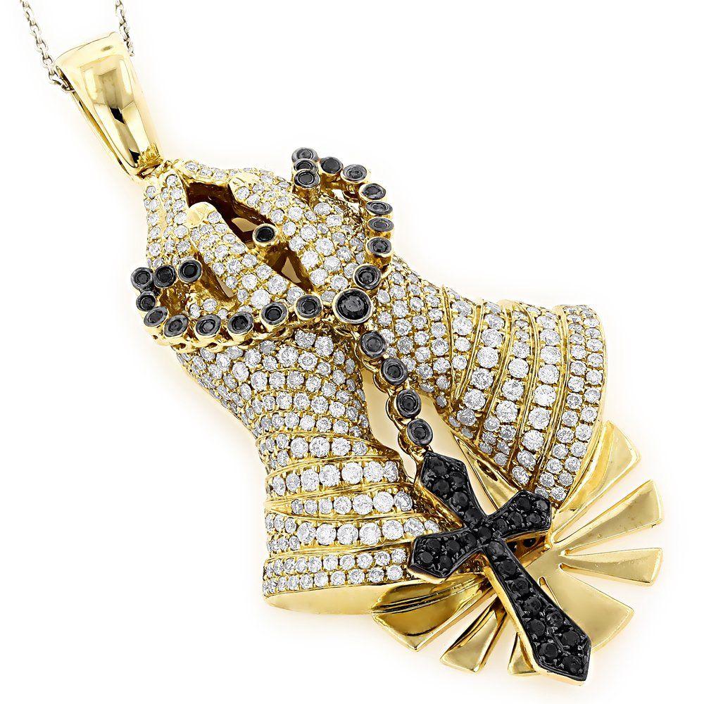 Religious Jewelry Unique 14K Gold Diamond Praying Hands Pendant