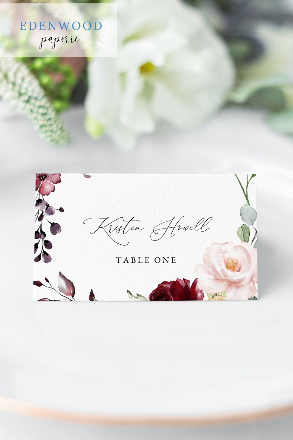 Red And Blush Floral Wedding Place Card Template With Meal Choice Icons Place Cards Wedding Diy Wedding Place Card Templates Free Wedding Invitation Templates