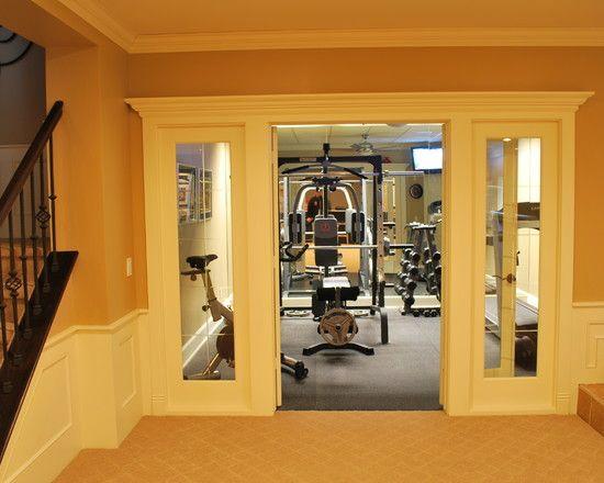 Doors Home Gym Beautiful Homes Design, Basement Workout Room Design Ideas