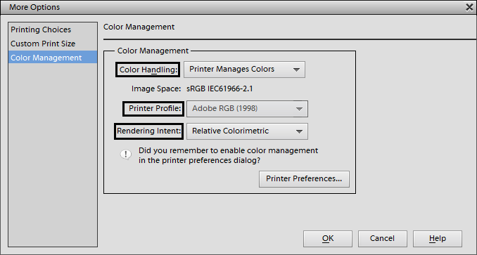 In Adobe Photoshop Elements Learn How To Get The Most Accurate Color Output From Your Printer Find Out More About Different Management Settings