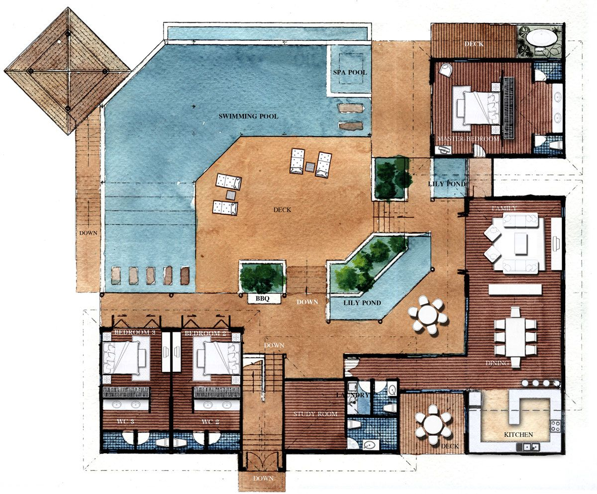 Resort style residential floor plans floor plans for Modern roman villa house plans