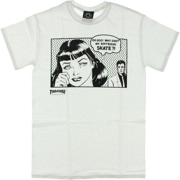 Thrasher Magazine Boyfriend Girls white t-shirt - new at Warehouse Skateboards! #WHSkate