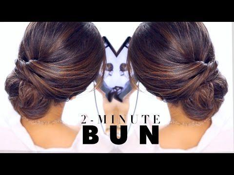 2 Minute Hairstyles 2Minute Elegant Bun Hairstyle ☆ Easy Updo Hairstyles