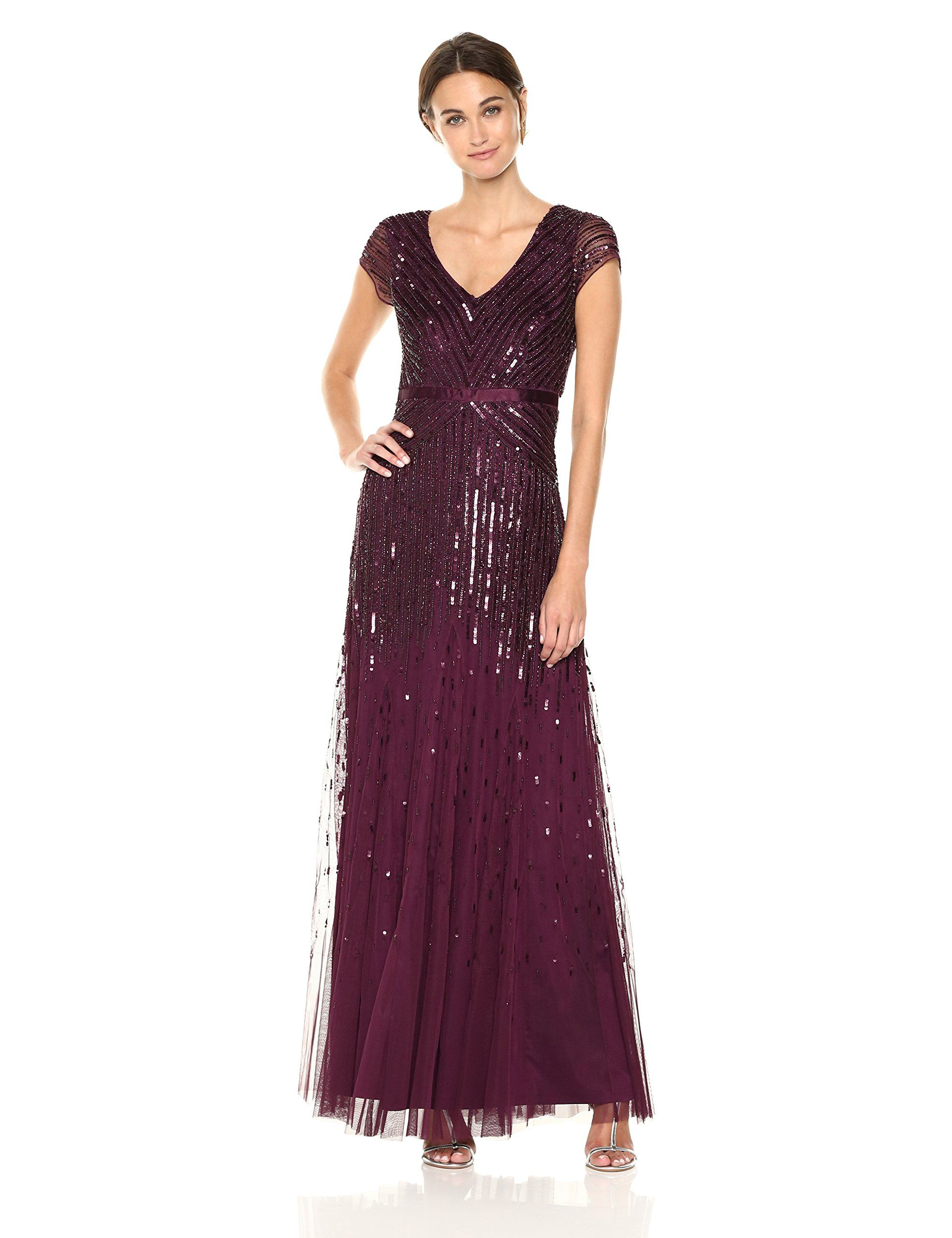 Beaded V-Neck Gown by Adrianna Papell - Blush - Mothers Only