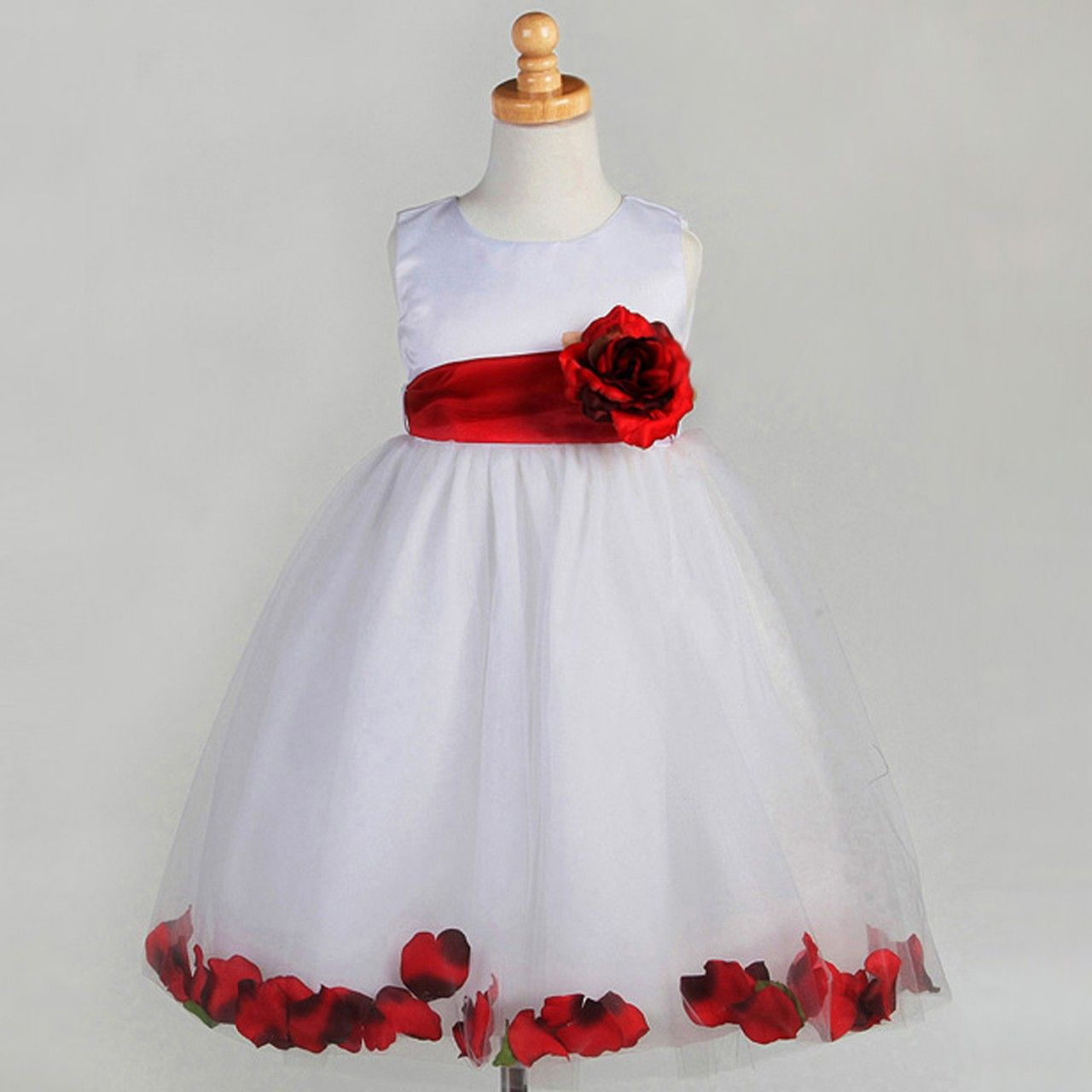 Fashionably yours cinderella flower girls dress white with red fashionably yours cinderella flower girls dress white with red petals from ombrellifo Image collections