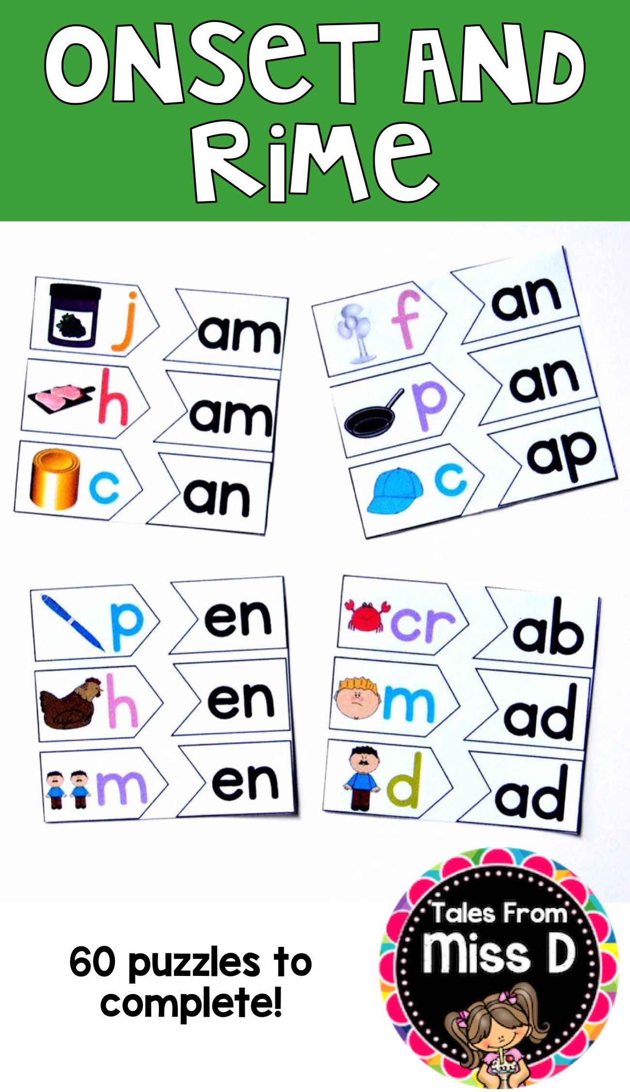 These Onset And Rime Puzzles Will Help Students Develop Their Phonemic Awareness By Blending And Segmen First Grade Activities Word Families Phonemic Awareness [ 2249 x 1299 Pixel ]