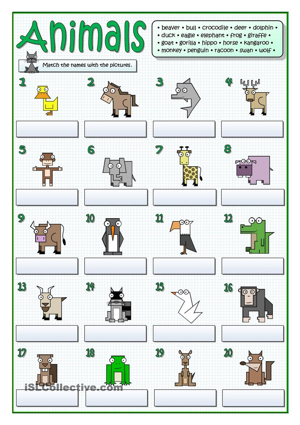 twenty animals follow my worksheets on islcollective pinterest animal english and worksheets. Black Bedroom Furniture Sets. Home Design Ideas