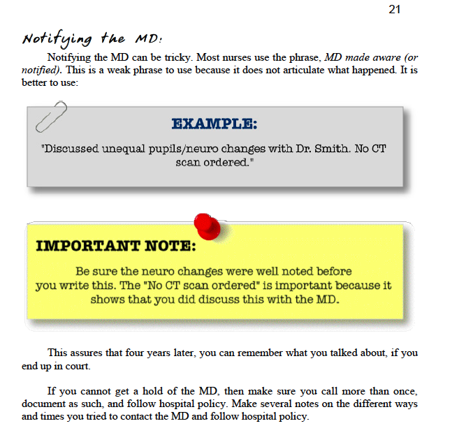 examples of nursing notes