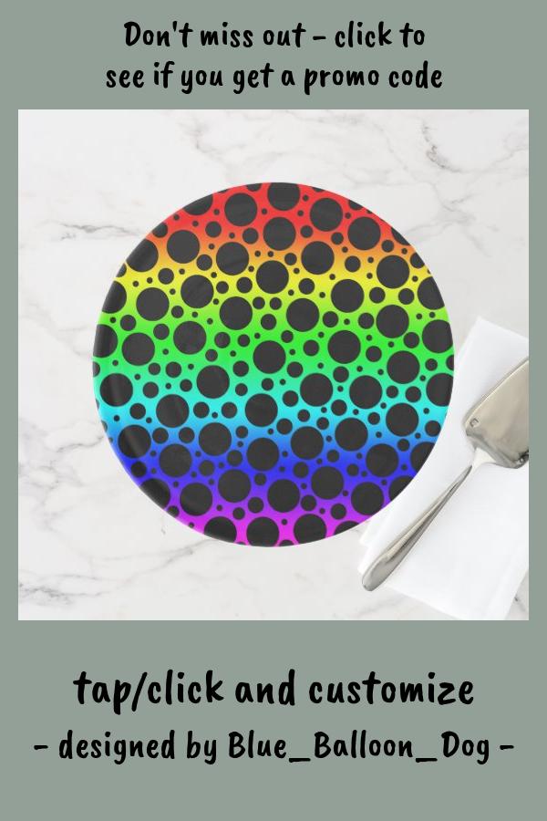 Rainbow Random Polka Dots Cake Stand #rainbow #wedding #polka #dots #CakeStand