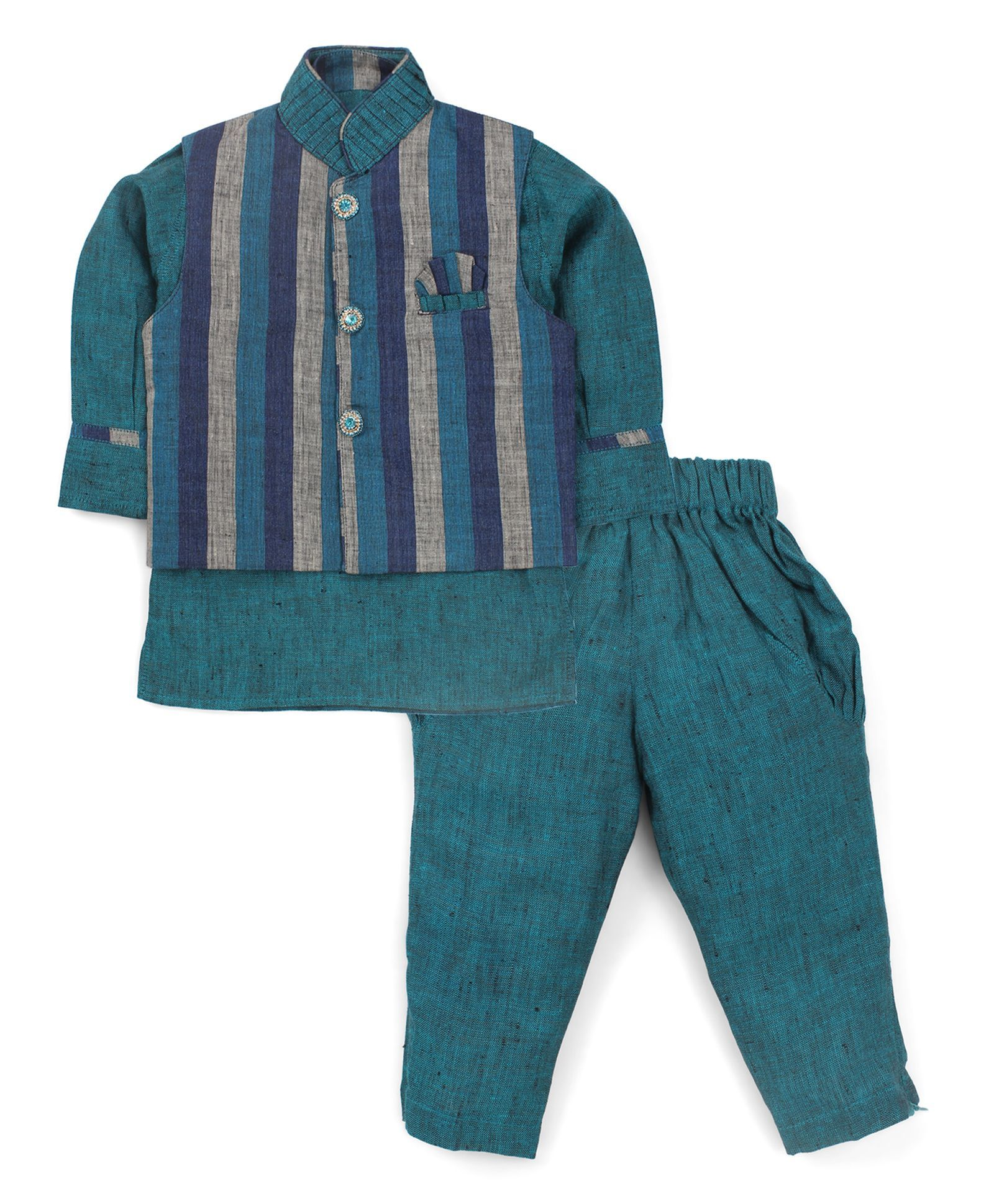 Buy Active Kids Wear Jodhpuri Kurta And Pajama With Jacket Stripes Blue For Boys 0 3 Months Online In India At Best Price Kids Wear Blue Stripes How To Wear