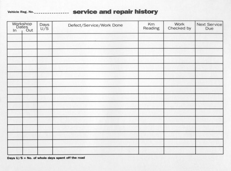 5 Vehicle Service Record Log Templates Templates Records Vehicles