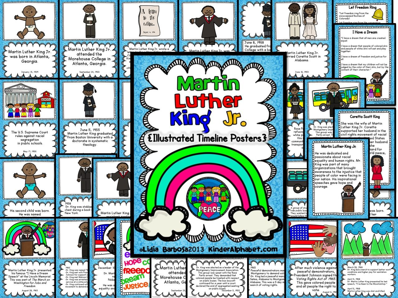 Fun Martin Luther King Jr Timeline Posters Use To Retell Mlk Life Events Includes Printables