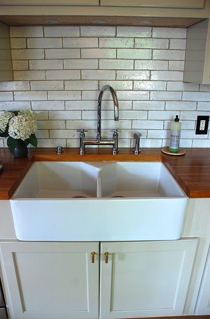 Oooh Love The Split Farmhouse Sink And Butcher Block Countertop Even Digging Subway Tile Walls