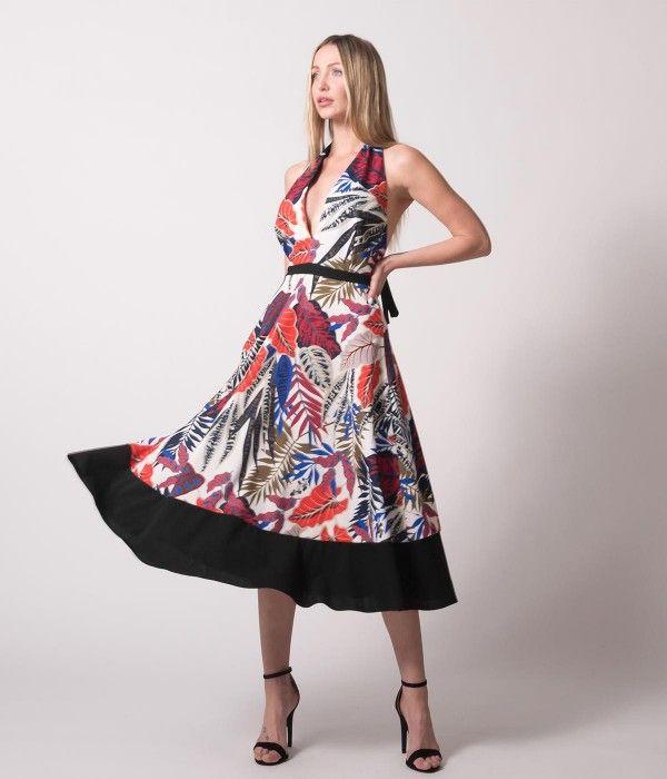 045ea62ba482 Μιντι φόρεμα Cocktail με δέσιμο στο λαιμό