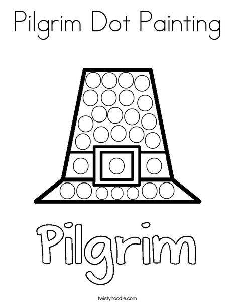 Pilgrim Dot Painting Coloring Page - Twisty Noodle ...