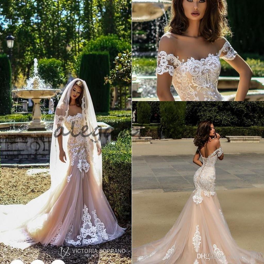 eff373842fa00 Victoria Soprano 2018 Champagne White Mermaid Wedding Dresses Off Shoulder  Lace-up Back Sexy Applique