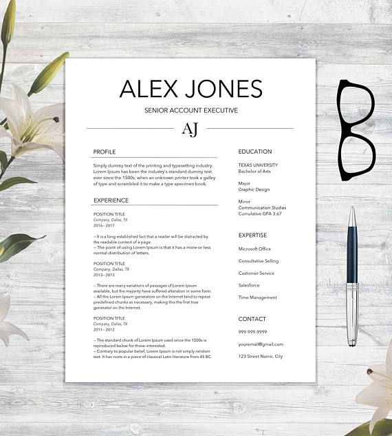 Resume Template And Cover Letter With References Template