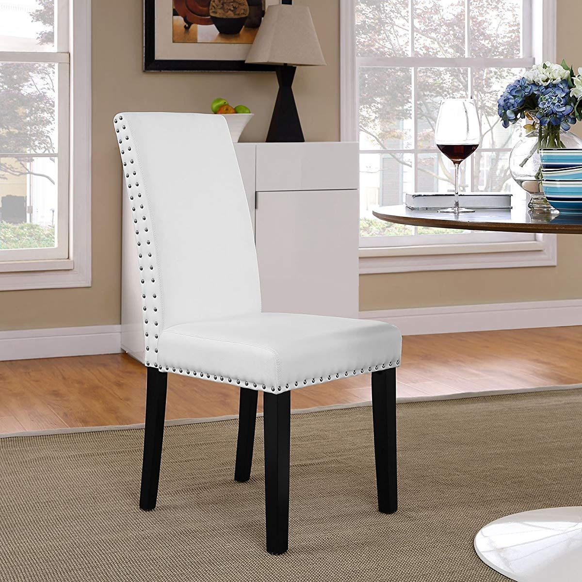Dining Chair With Polished Nailhead Trim And Wood Legs In